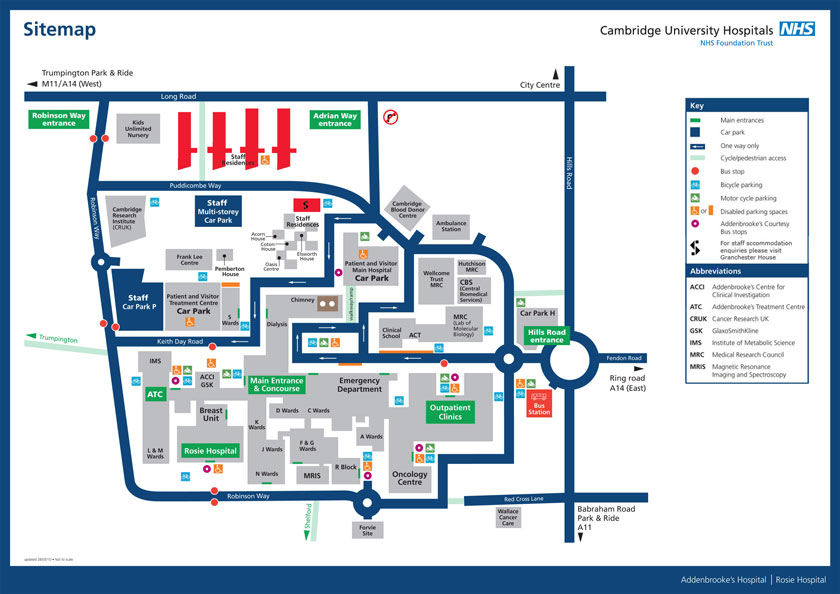 Site map of Addenbrooke's hospital