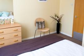 Example bedroom in Sanctuary Addenbrookes couples accommodation.
