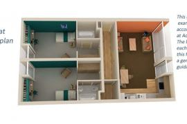 Example floor plan of a 2 bedroom flat in our en-suite accommodation