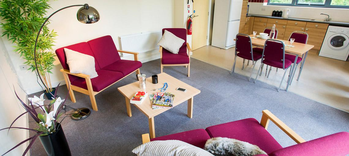 Example shared lounge in Sanctuary Addenbrookes en-suite accommodation.